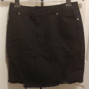Forever 21+ Jean Distressed Mini Skirt